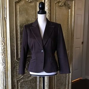 Isabella DeMarco, tailored brown jacket, lined